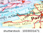 cherborg. france on a map | Shutterstock . vector #1033031671