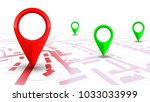 red gps navigator pointer on... | Shutterstock .eps vector #1033033999