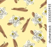 vanilla stick and flower vector ... | Shutterstock .eps vector #1033035955