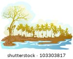 dry tree landscape near the... | Shutterstock .eps vector #103303817