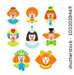 clown faces different avatars.... | Shutterstock . vector #1033038469