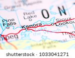 kenora. canada on a map | Shutterstock . vector #1033041271