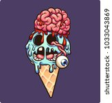 zombie ice cream with brain and ... | Shutterstock .eps vector #1033043869