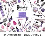 beauty salon  manicure  makeup  ... | Shutterstock .eps vector #1033044571