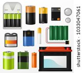battery vector pile of power... | Shutterstock .eps vector #1033047061