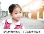 cute asian little girl in... | Shutterstock . vector #1033054525