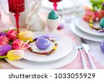 beautiful table setting with... | Shutterstock . vector #1033055929