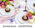 beautiful table setting with... | Shutterstock . vector #1033055944