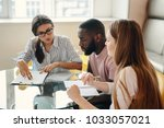 group of multiethnic university ... | Shutterstock . vector #1033057021