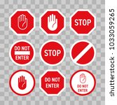 stop road sign with hand... | Shutterstock .eps vector #1033059265