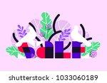 sale banner with white birds...   Shutterstock .eps vector #1033060189