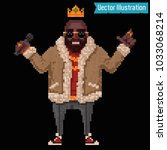 pixel art   rapper and swag... | Shutterstock .eps vector #1033068214