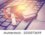 online learning or e learning... | Shutterstock . vector #1033073659