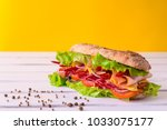 preparing a crusty fresh... | Shutterstock . vector #1033075177