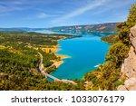 the river verdon flows along... | Shutterstock . vector #1033076179