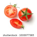 cherry tomatoes isolated on... | Shutterstock . vector #1033077385