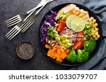 buddha bowl dish with chicken... | Shutterstock . vector #1033079707