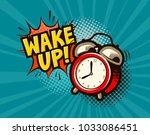 wake up banner. alarm clock in... | Shutterstock .eps vector #1033086451