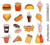 fast food flat icon set | Shutterstock .eps vector #1033086817