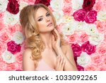 beauty happy model girl with... | Shutterstock . vector #1033092265