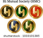 set of physical golden coin hi... | Shutterstock .eps vector #1033101385