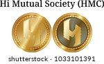 set of physical golden coin hi... | Shutterstock .eps vector #1033101391