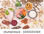 healthy food for a dog on white ... | Shutterstock . vector #1033101565