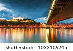 bratislava castle and danube... | Shutterstock . vector #1033106245