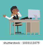 the manager speaks on the phone ... | Shutterstock .eps vector #1033111075