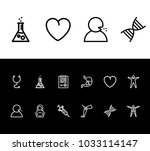 medicine icon set and heart...