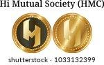 set of physical golden coin hi... | Shutterstock .eps vector #1033132399
