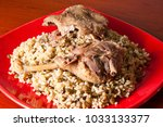 traditional goose meat and... | Shutterstock . vector #1033133377