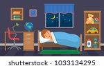 a boy is sleeping in his...   Shutterstock .eps vector #1033134295