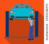 car on the lift single icon in... | Shutterstock . vector #1033138291