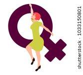 girl holding a female gender... | Shutterstock .eps vector #1033150801