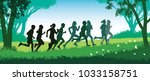 running people. crowd of young... | Shutterstock .eps vector #1033158751
