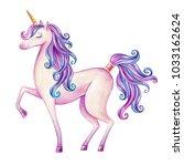 watercolor pink unicorn... | Shutterstock . vector #1033162624