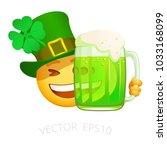 patrick emoji with green beer.... | Shutterstock .eps vector #1033168099