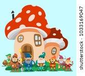 fairy tale fantastic gnome... | Shutterstock .eps vector #1033169047