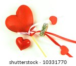 Valentines Day hearts and ring on white background. - stock photo