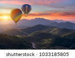 colorful hot air balloons... | Shutterstock . vector #1033185805