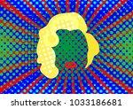 blonde woman marilyn icon... | Shutterstock .eps vector #1033186681