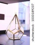 diamond shape glass hanging vase | Shutterstock . vector #1033189237