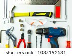 set of construction tools on...   Shutterstock . vector #1033192531