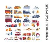 transport pixel art icons set... | Shutterstock .eps vector #1033199635