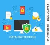 data protection. modern flat... | Shutterstock .eps vector #1033202965