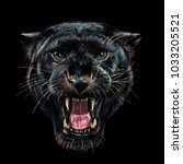 roaring black panther on black... | Shutterstock . vector #1033205521