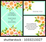 invitation with floral... | Shutterstock . vector #1033213327