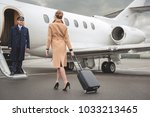 full length young woman with... | Shutterstock . vector #1033213465