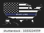 an american thin blue line flag ... | Shutterstock .eps vector #1033224559